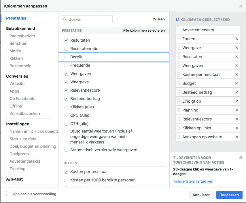 Facebook adverteren voor bedrijven het analyseren en dashboard