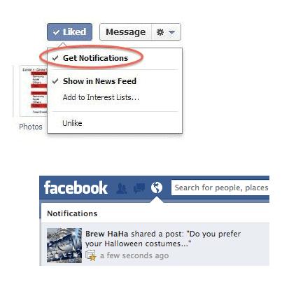 Facebook bedrijfspagina krijgt notificatie knop voor fans