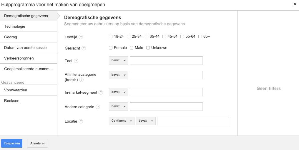 Google analytics remarketing lijsten