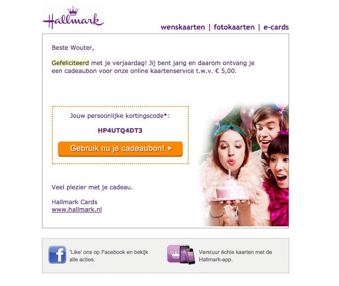 Hallmark e-mailmarketingcampagne verjaardag