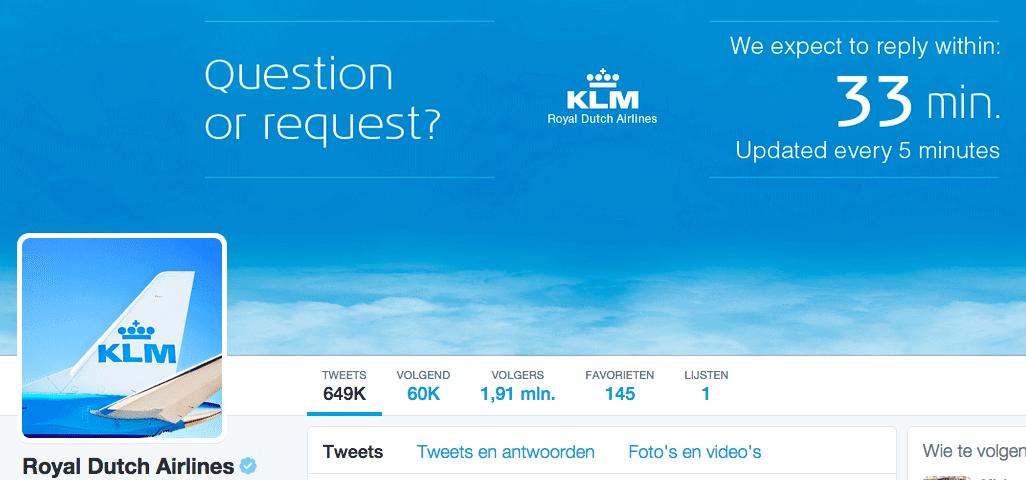 KLM - Twitter reactie policy