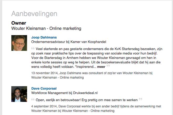 LinkedIn - referenties van Wouter Kleinsman