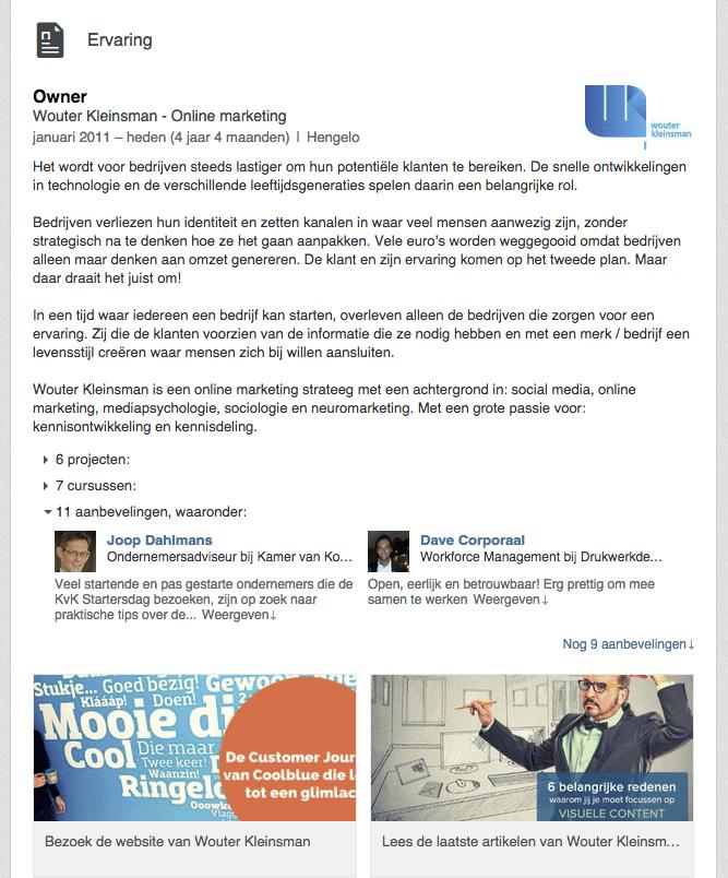 Linkedin-profiel---ervaring-van-Wouter-Kleinsman
