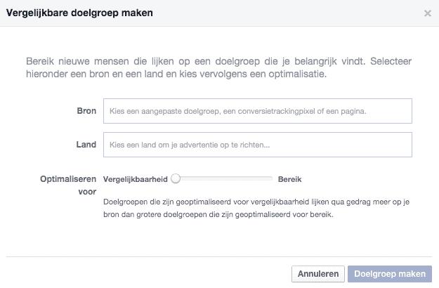 Facebook power editor - adverteren en vergelijkbare doelgroep