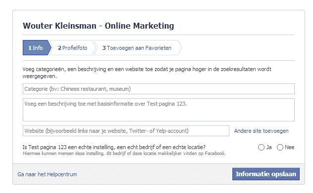 Facebook voor bedrijven - Opzetten van een bedrijfspagina stap 4