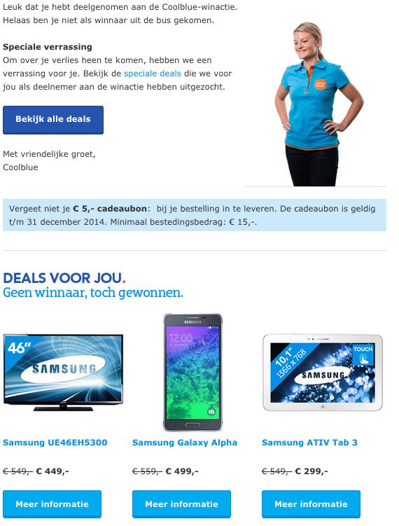 e-mailmarketingcampagne Coolblue verliezers