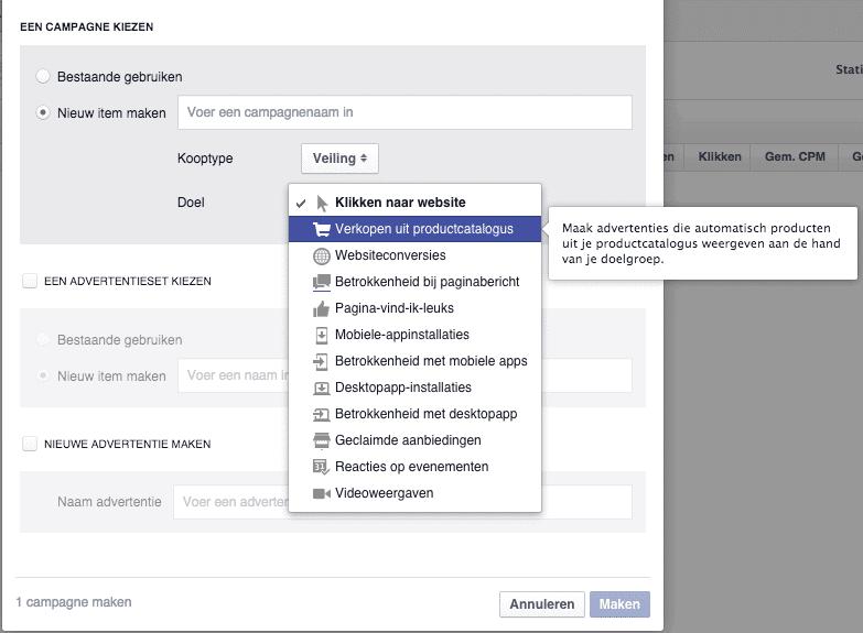 Facebook adverteren - power editor - verkopen uit productcatalogus