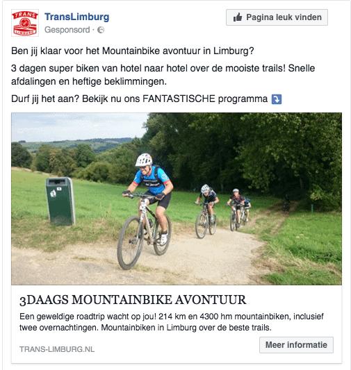 facebook en instagram advertentie a:b test voor trans limburg
