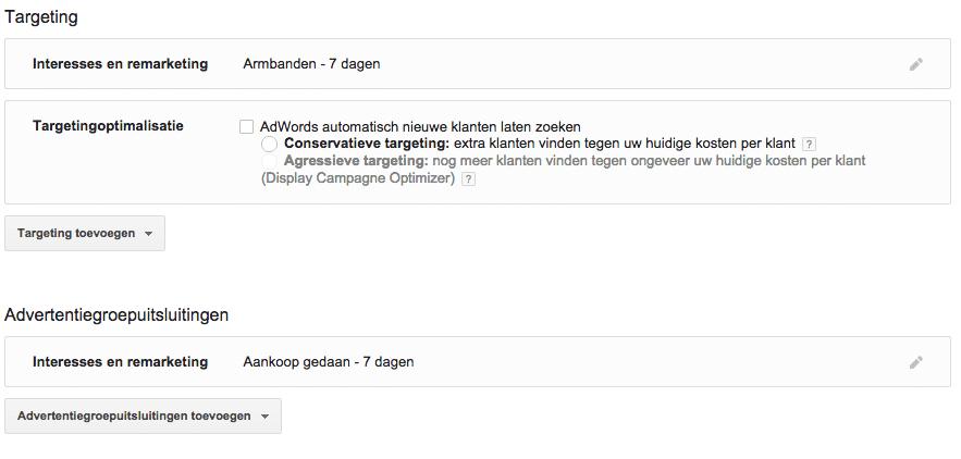 google remarketing adwords filter doelen