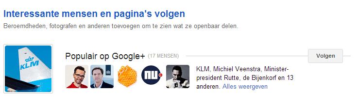 Google Plus - Interesse lijst