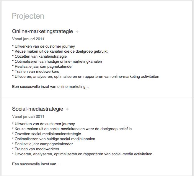 linkedin - gebruik maken van projecten